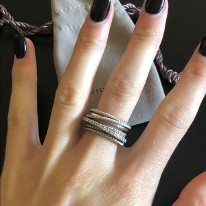 David Yurman - Crossover Wide Ring with Diamonds